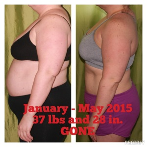 37 pounds and 28 inches GONE - From January - May 2015