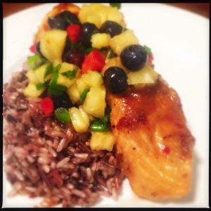 Sweet and Spicy Salmon with Blueberry Pineapple Salsa